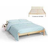 Double Bed Frame, Simple Style Natural Sturdy Pine Solid Wooden Bed Platform with Headboard and Footboard ?198x146x54cm? - Double Pine Color