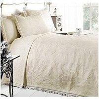 S.green - Double Bed Mafalda Cream Bedspread Portuguese Style Sofa Bed Throw Mix Cotton