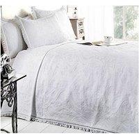 S.green - Double Bed Mafalda White Bedspread Portuguese Style Sofa Bed Throw Mix Cotton