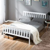 Double Bed Wooden Frame 4ft6 Double Wooden Bed in White For Adults, Kids, Teenagers 196x141x82cm