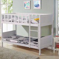Insma - Wood Bed Frame Double Bunk Beds With Stairs 197x97x149cm White