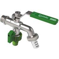 Calido - Double Duo Outlet Garden Outdoor Tap Ball Valve Faucet 1/2 x 3/4 x 3/4 BSP