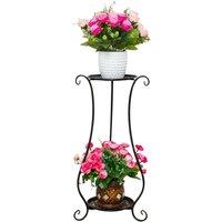Two-Tier Metal Plant Stand Flower Pot Holder Planter Shelf D