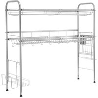 Double Tier Over The Sink Dish Drying Rack Holder Shelf Drainer Storage Organize 80cm