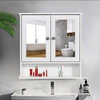 Bathroom Mirrored Cabinet Double Doors Wall Mounted Shelf Storage Cupboard - Blanc