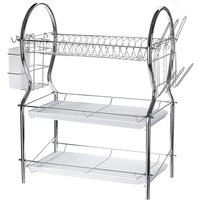 Drainer Dish Organizer 3 Tier Stainless Steel Shelf