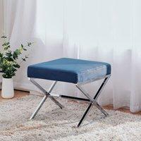 Dressing Table Stool Dining Chair Velvet Padded Seat Footstool with Chrome Leg, Blue