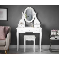 Dressing Table with Vanity Mirror LED Lights and Stool 5 Drawers Set For Bedroom Makeup Jewellery Storage