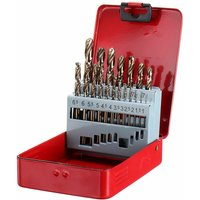 Drillpro 19 Piece M35 HSS-Co Jobber Cobalt Drill Bit Set Length Twist Drill Bits with Metal Case for Stainless Steel Wood