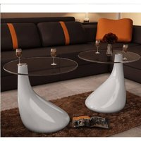 Coffee Table 2 pcs with Round Glass Top High Gloss White - White - Vidaxl