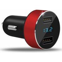 Litzee - Dual Port 3.1A Car Charger Adapter 12V / 25V USB Cigarette Lighter Socket Digital LED Voltmeter for Mobile Phone Tablet Camera and More