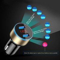 Litzee - Dual Ports Car Charger Adapter 3.1A USB Cigarette Lighter Socket 12V / 26V Digital LED Voltmeter for Mobile Phone Tablet Camera and More