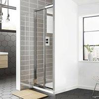 Spring Bi-Fold Shower Door 800mm Wide - 4mm Clear Glass - Duchy