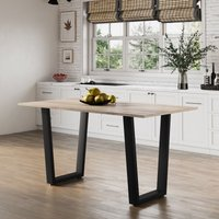 Hallowood - Dudley Large Dining Table / 4-6 Seater Kitchen Table / Chunky Black Metal Leg