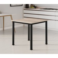 Hallowood - Dudley Square Dining Table / 4 Seater Kitchen Table / Black Metal Leg