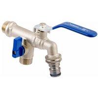 Idmar - Duo Garden Patio Brass Tap Valve Water Faucet with Handle 1/2 x 3/4 BSP
