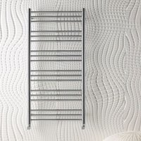 Biava Round Steel White Heated Towel Rail 1800mm x 600mm Dual Fuel - Thermostatic - Eastbrook