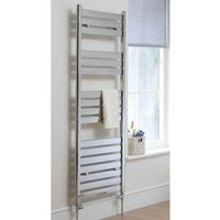 Eastbrook Staverton Steel White Heated Towel Rail 1800mm x 600mm Dual Fuel - Thermostatic