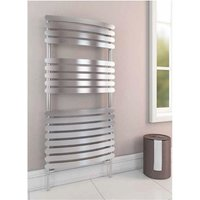 Staverton Tube on Tube Steel Curved White Heated Towel Rail 600mm x 500mm Dual Fuel - Thermostatic - Eastbrook