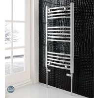 Eastbrook Wendover Curved Steel Chrome Heated Towel Rail 1800mm x 600mm Electric Only - Thermostatic