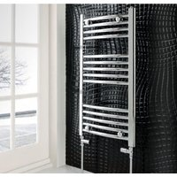 Eastbrook Wendover Straight Steel Chrome Heated Towel Rail 600mm x 1000mm Dual Fuel - Thermostatic