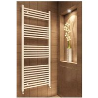 Eastbrook Wingrave Steel Matt White Straight Heated Towel Rail 1600mm x 500mm Electric Only - Thermostatic