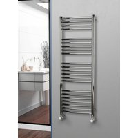 Eastgate 304 Curved Polished Stainless Steel Heated Towel Rail 1400mm x 500mm - Electric Only - Thermostatic - 2503BTUs