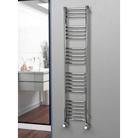 304 Curved Polished Stainless Steel Heated Towel Rail 1600mm x 350mm - Dual Fuel - Thermostatic - 2118BTUs - Eastgate