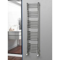 Eastgate 304 Curved Polished Stainless Steel Heated Towel Rail 1600mm x 400mm - Electric Only - Thermostatic - 2335BTUs