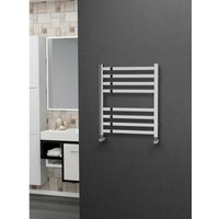 Eastgate 304 Square Polished Stainless Steel Heated Towel Rail 600mm x 500mm - Dual Fuel - Thermostatic - 1088BTUs