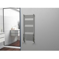 Eastgate 304 Straight Polished Stainless Steel Heated Towel Rail 1200mm x 500mm - Dual Fuel - Thermostatic - 2059BTUs