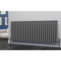 Eastgate Eclipse Steel Anthracite Horizontal Designer Radiator 600mm x 1508mm Single Panel - Dual Fuel - Thermostatic