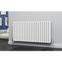 Eastgate Eclipse Steel White Horizontal Designer Radiator 600mm x 1218mm Double Panel - Electric Only - Thermostatic