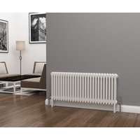 Eastgate Lazarus Steel White Horizontal 3 Column Radiator 500mm x 1177mm - Dual Fuel - Thermostatic