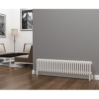 Eastgate Lazarus Steel White Horizontal 4 Column Radiator 300mm x 1340mm - Electric Only - Thermostatic