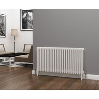 Eastgate Lazarus Steel White Horizontal 4 Column Radiator 600mm x 1164mm - Dual Fuel - Standard