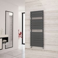 Liso Anthracite Flat Tube Designer Towel Rail 1292mm x 500mm - Dual Fuel - Thermostatic - Eastgate