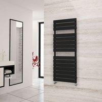 Eastgate Liso Black Flat Tube Designer Towel Rail 1292mm x 500mm - Dual Fuel - Thermostatic