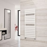 Eastgate Liso White Flat Tube Designer Towel Rail 1292mm x 500mm - Electric Only - Thermostatic