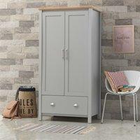 Eaton Grey 2 Door Double Wardrobe 1 Drawer - Bedroom Furniture Storage Cupboard