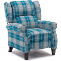 Eaton Wing Back Fireside Check Fabric Recliner Armchair Sofa Lounge Cinemo Chair Blue