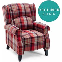 Eaton Wing Back Fireside Check Fabric Recliner Armchair Sofa Lounge Cinemo Chair Red