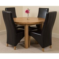 Edmonton Solid Oak Extending Oval Dining Table With 4 Lola D