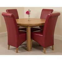 Edmonton Solid Oak Extending Oval Dining Table With 4 Montana Dining Chairs [Burgundy Leather] - MODERN FURNITURE DIRECT