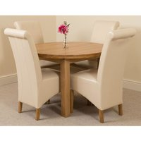 Edmonton Solid Oak Extending Oval Dining Table With 4 Montan