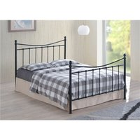 Edwardian Style Black Metal Bed Frame - Small Double 4ft