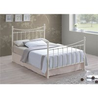 Edwardian Style Ivory Metal Bed Frame - Double 4ft 6