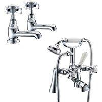 Edwardian Tap Set - Basin Taps and Bath Shower Mixer