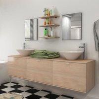 Zqyrlar - Eight Piece Bathroom Furniture and Basin Set Beige - Beige