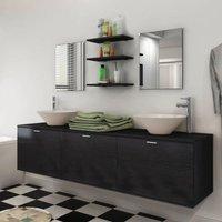Zqyrlar - Eight Piece Bathroom Furniture and Basin Set Black - Black